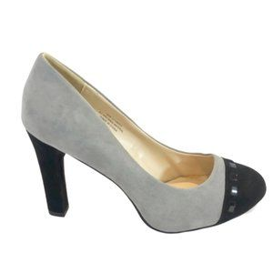 Cato Faux Suede Gray & Black Heels - 10W